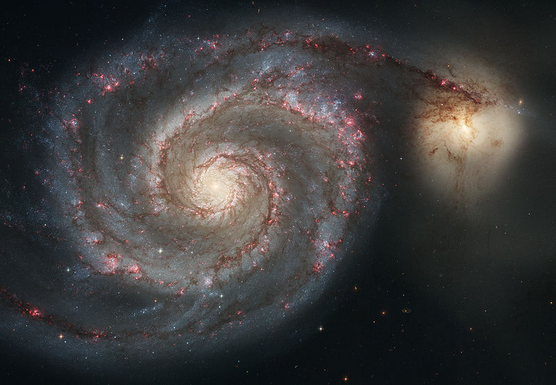 whirlpool galaxy,spiral galaxy,messier 51,m51,ngc 5194,canes venatici
