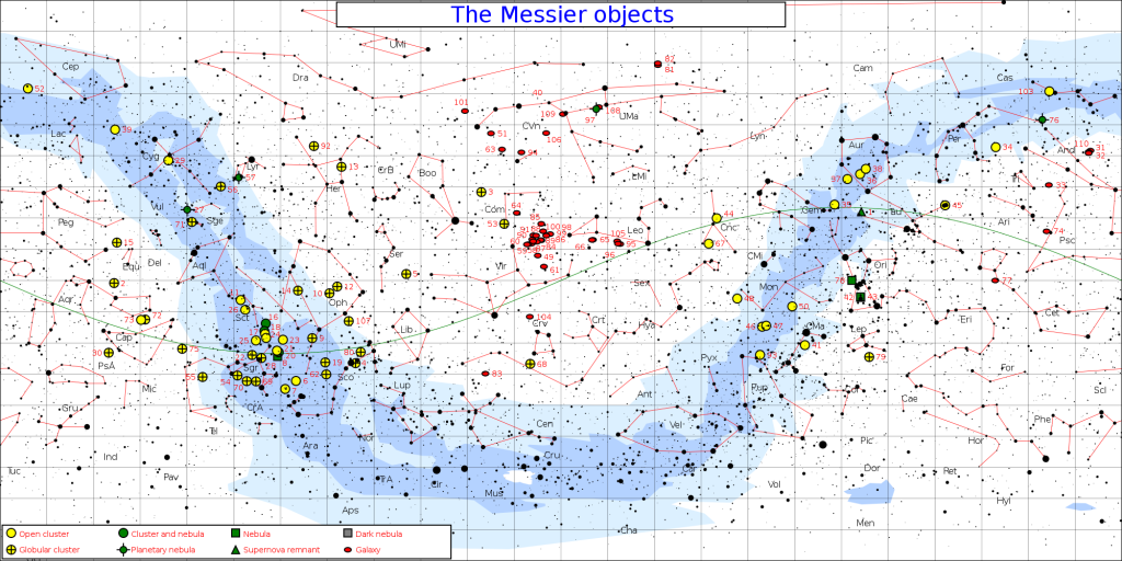 messier objects,messier objects map,messier objects chart