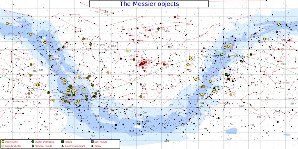 messier objects,messier objects map,messier objects chart