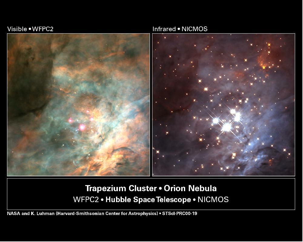 orion nebula visible light,orion nebula infrared