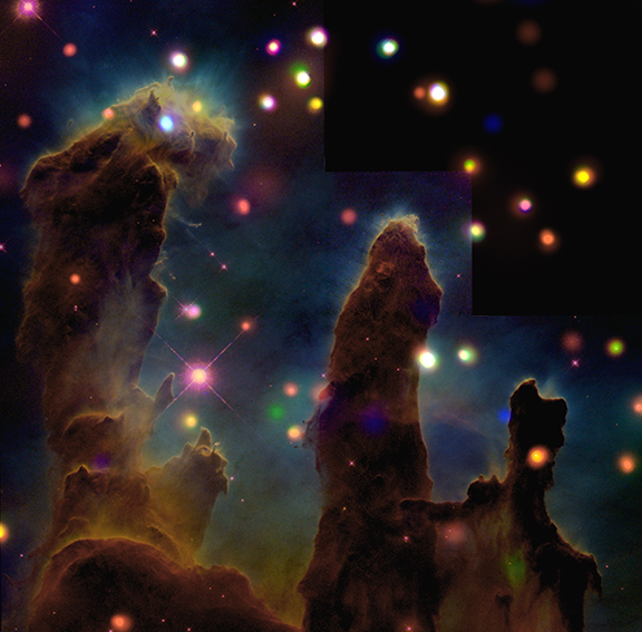 eagle nebula x-ray,pillars of creation x-ray