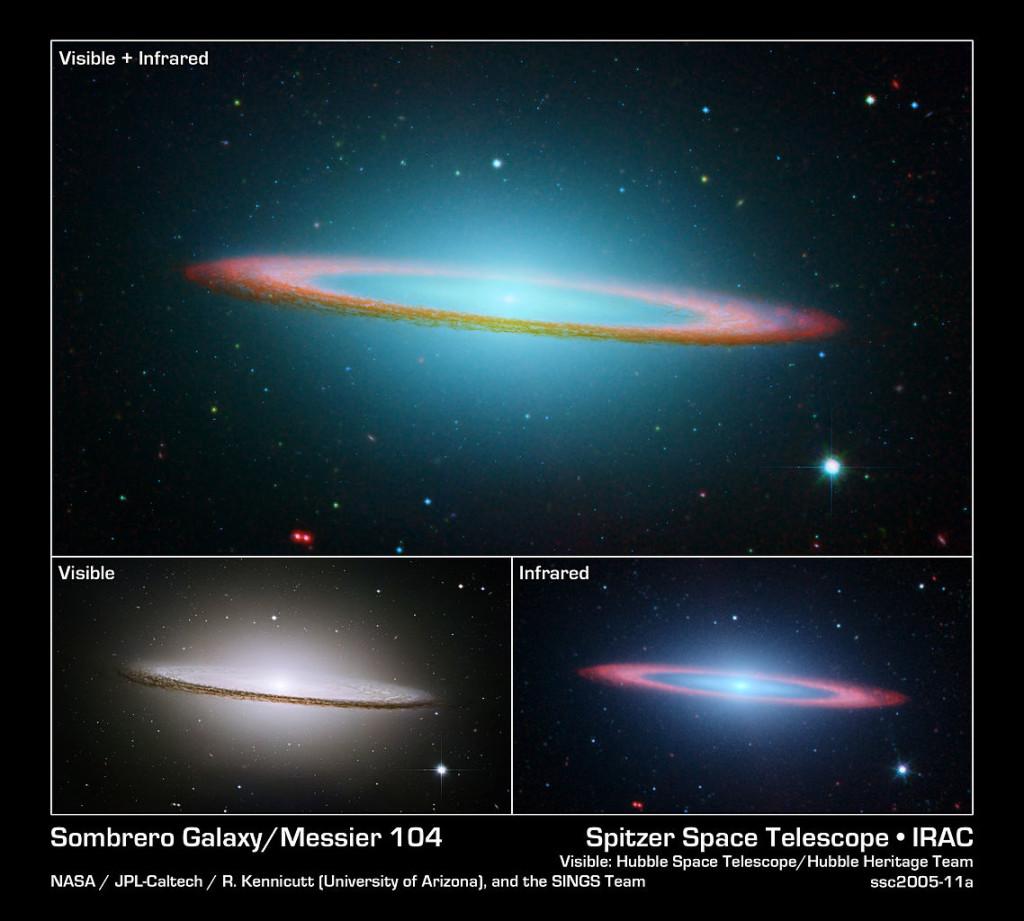 sombrero galaxy infrared,sombrero galaxy visible light,messier 104 infrared,m104 visible light