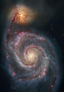 whirlpool galaxy,messier 51,m51,hubble image,ngc 5915,ngc 5194