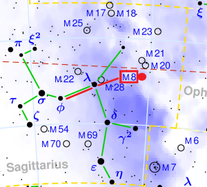 messier 8 location,find lagoon nebula