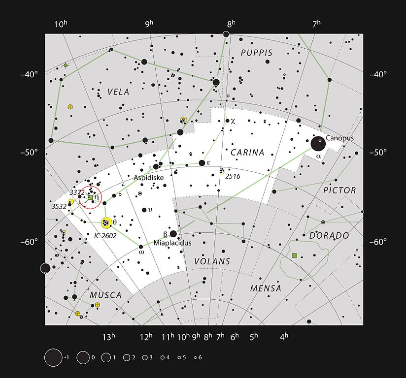 This chart shows the location of the Carina Nebula within the constellation of Carina (The Keel). This map shows most of the stars visible to the unaided eye under good conditions and the nebula itself is marked as a green square in a red circle at the left (labelled 3372 for NGC 3372). This nebula is very bright and can be seen well in small telescopes, and faintly without a telescope at all. Image: ESO, IAU and Sky & Telescope