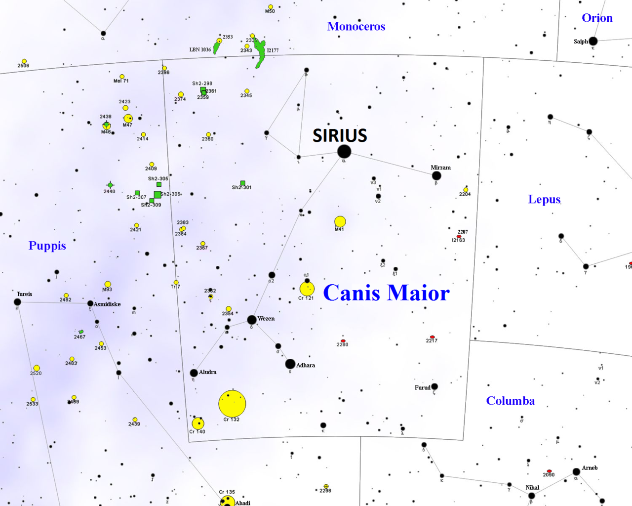 Sirius the dog star alpha canis majoris constellation guide sirius locationalpha canis majorisdog starsirius map nvjuhfo Images