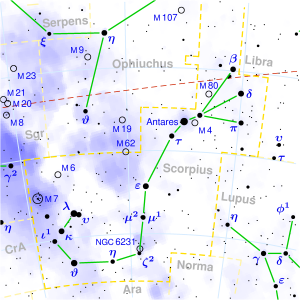 scorpius star map,antares star chart,how to find antares