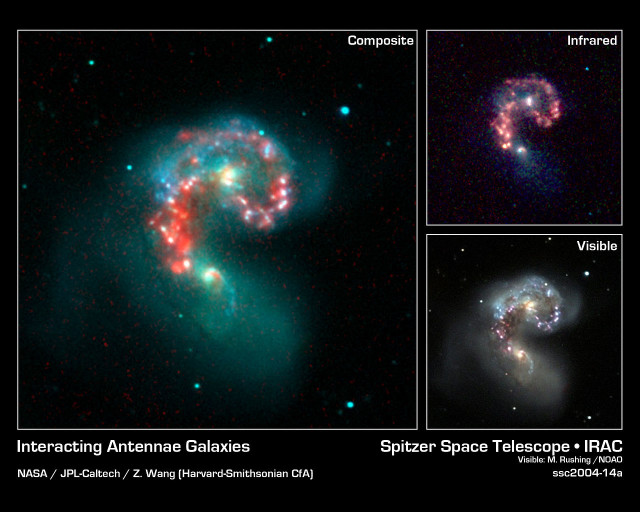 Antennae Galaxies infrared,antennae galaxies visible light