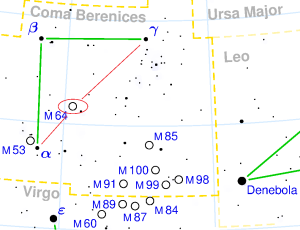 messier 64 location,find black eye galaxy