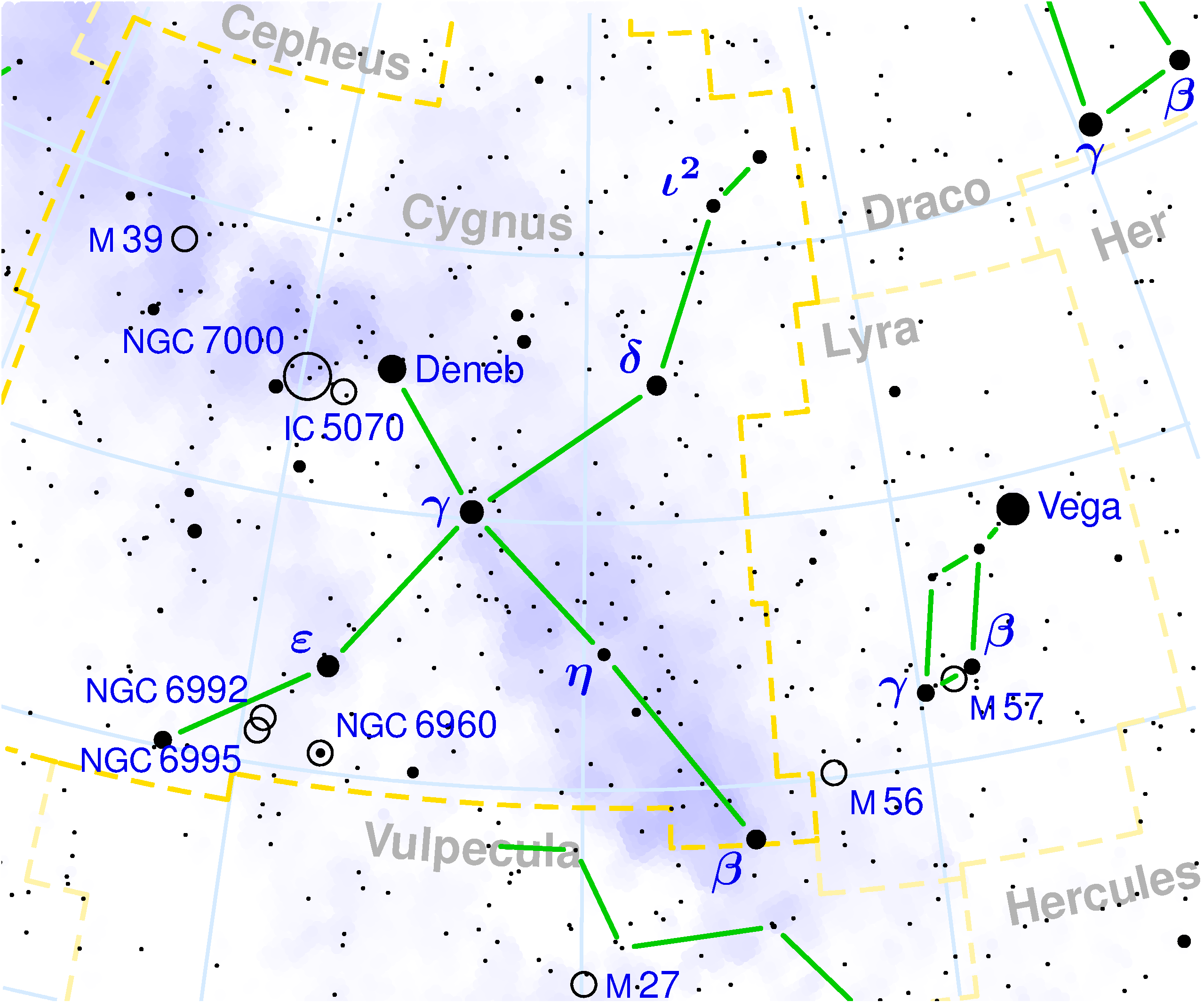 northern cross,cygnus constellation map,northern cross stars