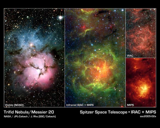 trifid nebula infrared,trifid nebula visible light,messier 20