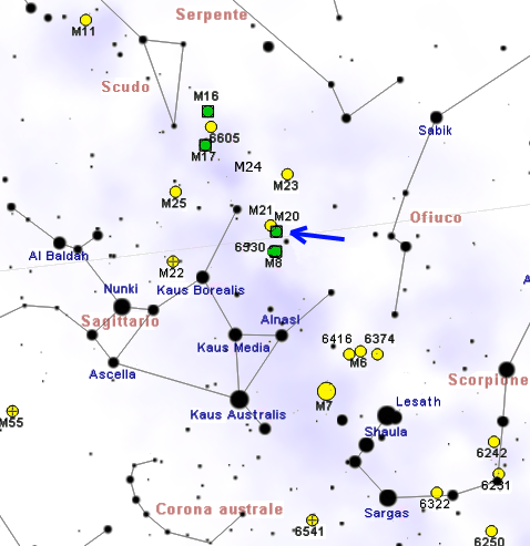 find trifid nebula,where is m20,messier 20 location