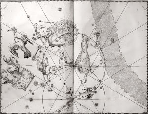A print of the copperplate engraving for Johann Bayer's Uranometria (1661 edition) showing the 12 new southern constellations. This image is courtesy of the History of Science Department at the University of Oklahoma.