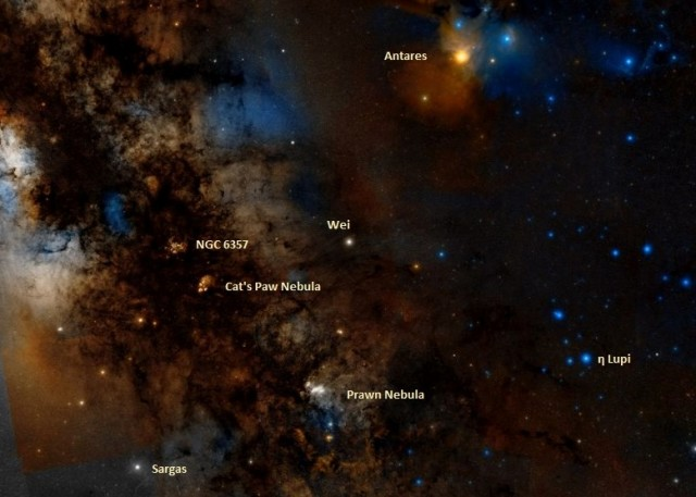 ic 4628 location,find prawn nebula,where is prawn nebula in the sky