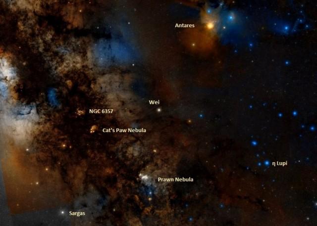 ic 4628 location,find prawn nebula,where is prawn nebula in the sky