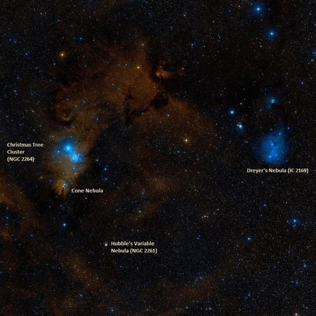 cone nebula,christmas tree cluster,dreyer's nebula,hubble's variable nebula