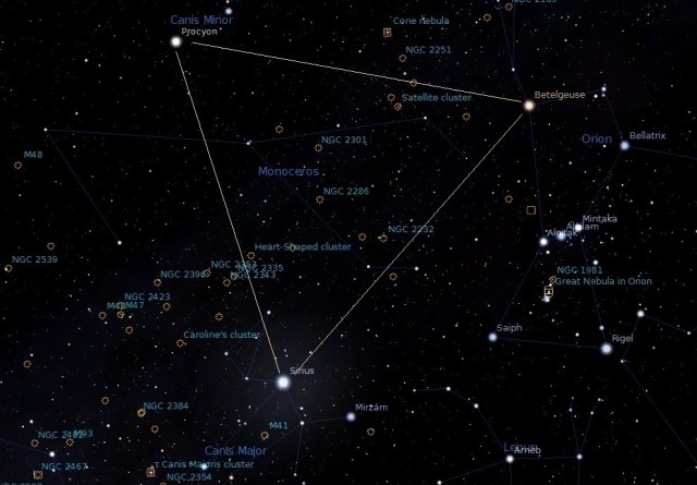 winter triangle,winter stars,betelgeuse,sirius,procyon