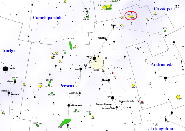 double cluster in perseus,find double cluster,where is double cluster