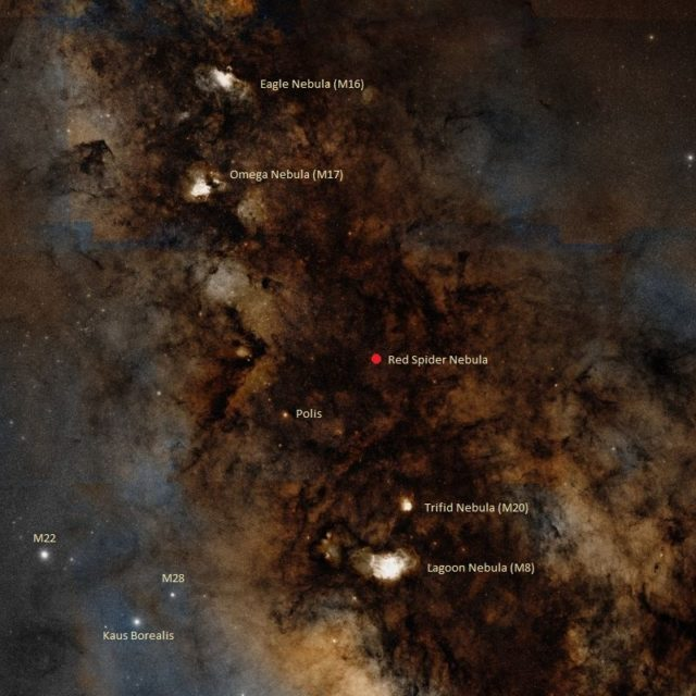find red spider nebula,where is ngc 6537