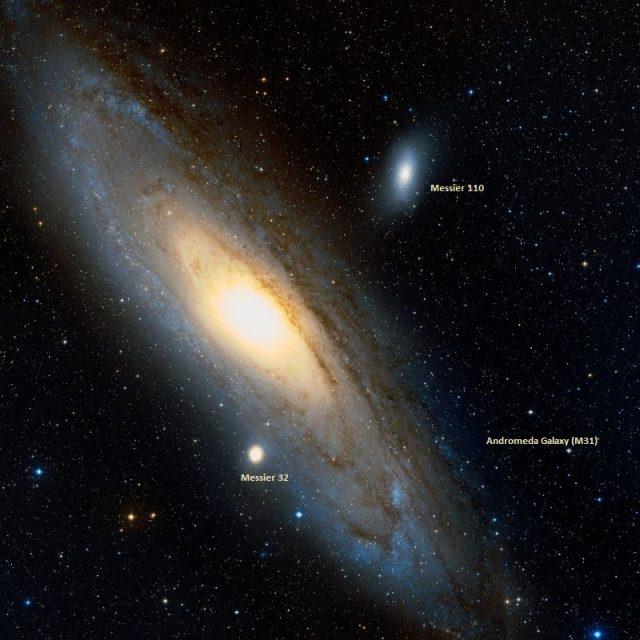 andromeda galaxy, m31,m32,m110